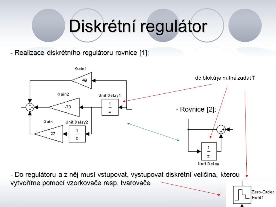 Diskrétní regulátor - Realizace diskrétního regulátoru rovnice [1]: